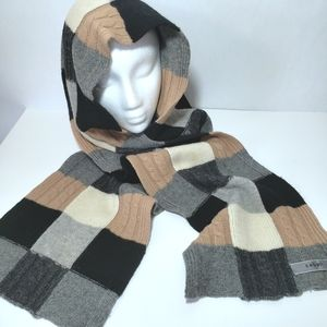 Caban 100% Wool Knit Multi Color Block Scarf